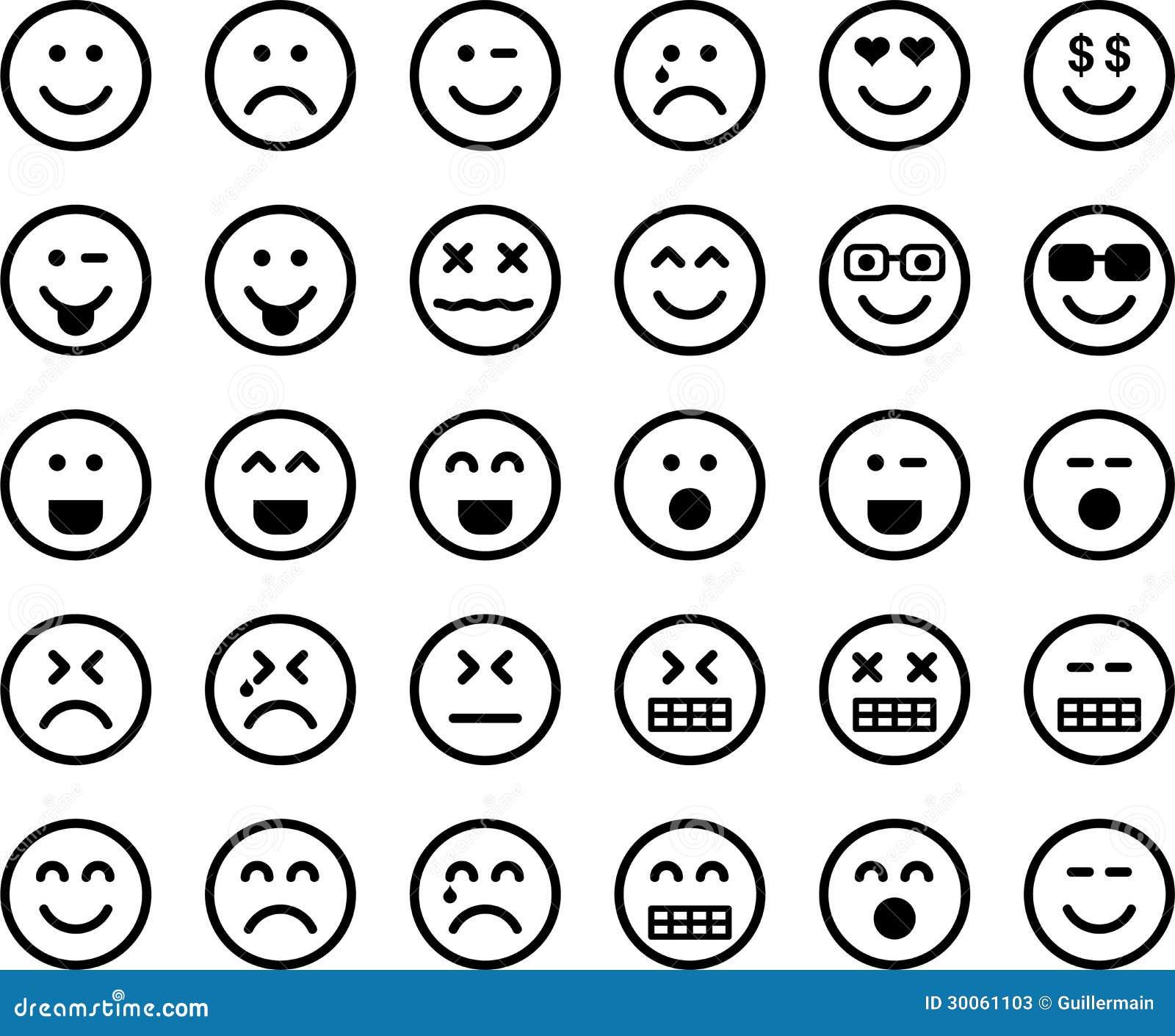 Set of emoticons stock photos image 30061103 - Smiley en noir et blanc ...