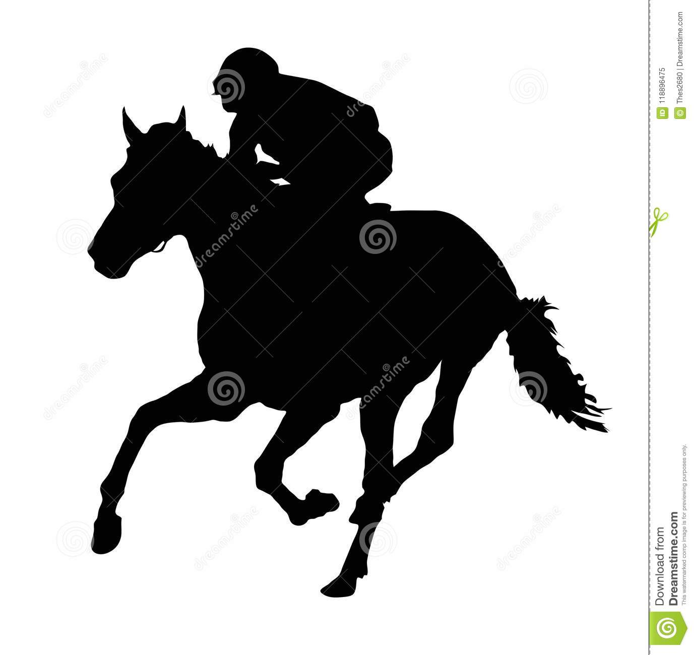 Download Jockey And Horse Silhouette Stock Illustration