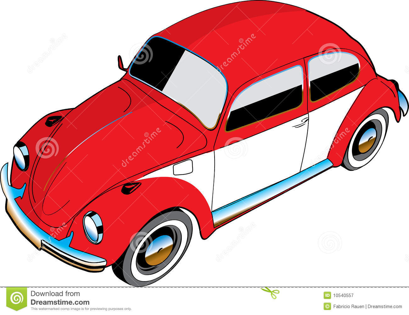 Illustrated VW Beetle Car Royalty Free Stock Photography - Image: 10540557
