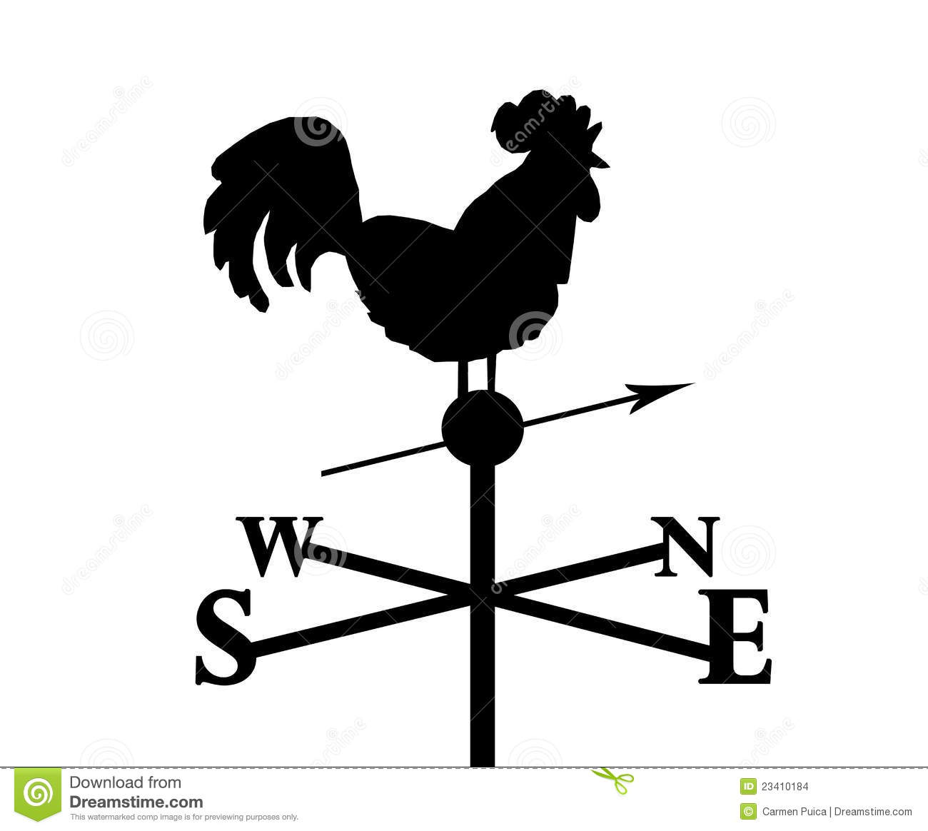 Singing Rooster pointing North. Weather Vane. Black and white ...