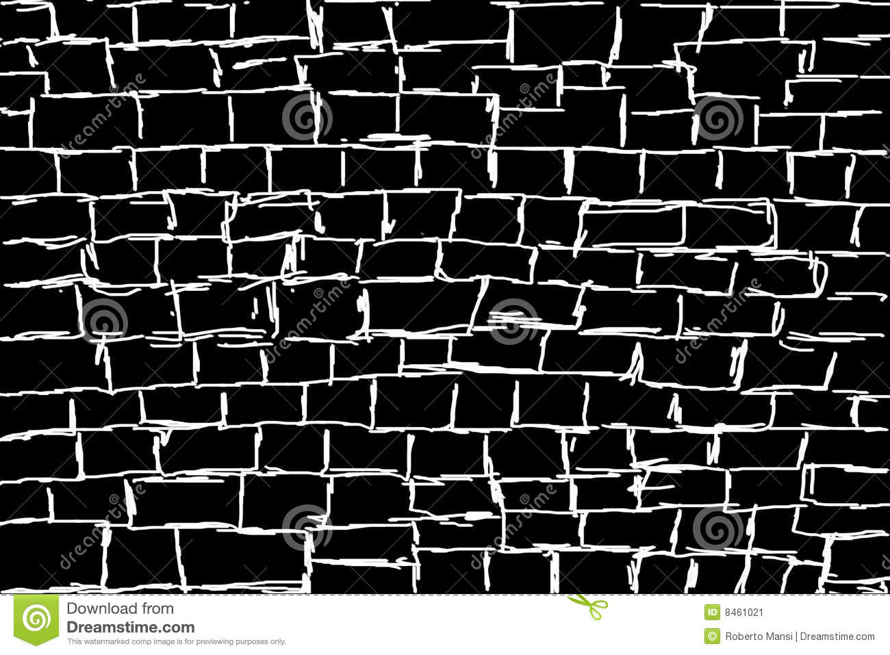 illustrated white wall on black background stock image - image