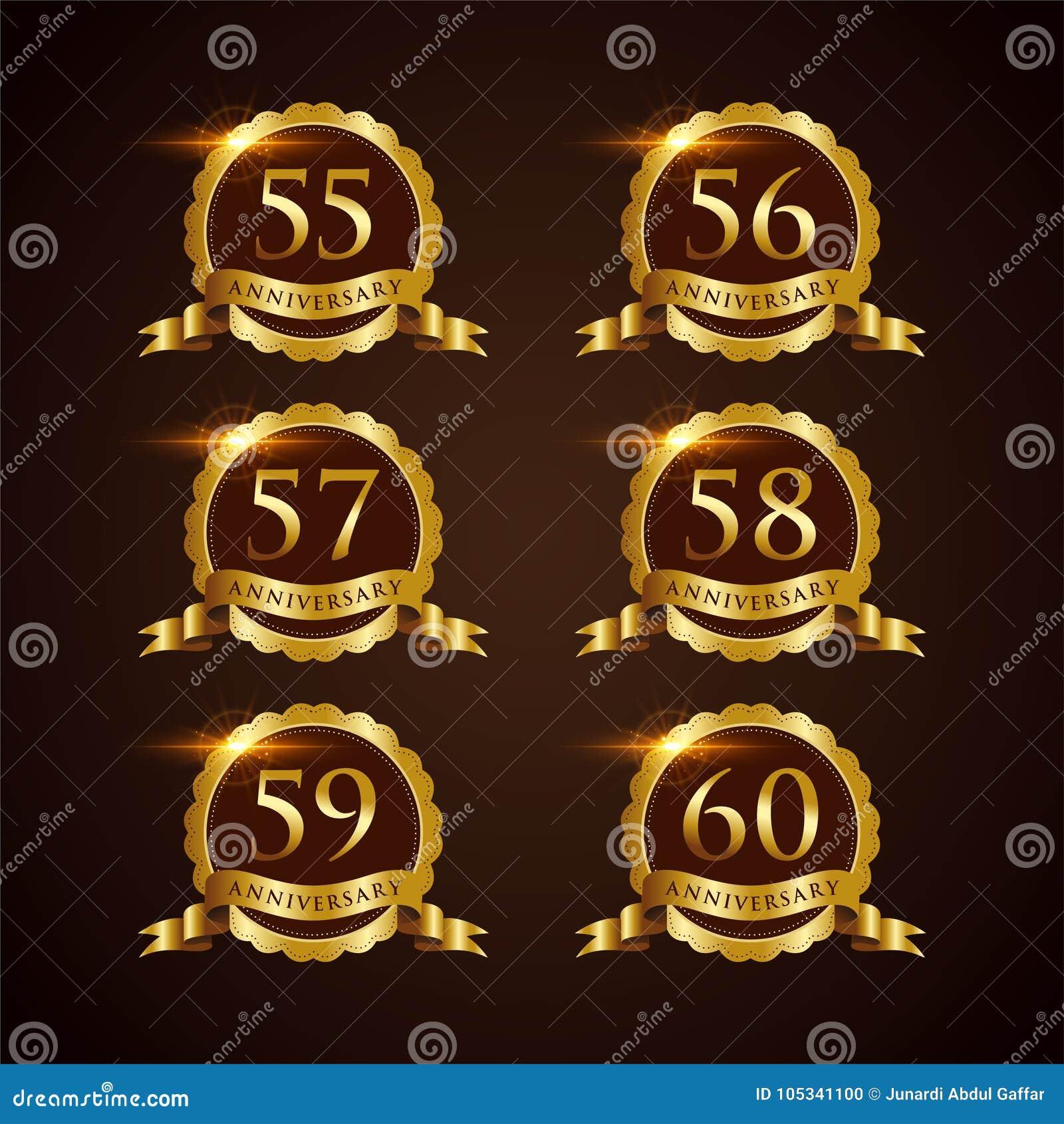 Illustrateur de luxe ENV de vecteur de l anniversaire 55-60 d insigne 10