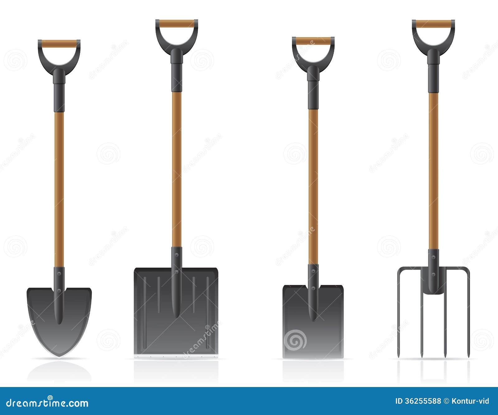Illustrati del vector de la pala y del bieldo del for Pala de jardineria