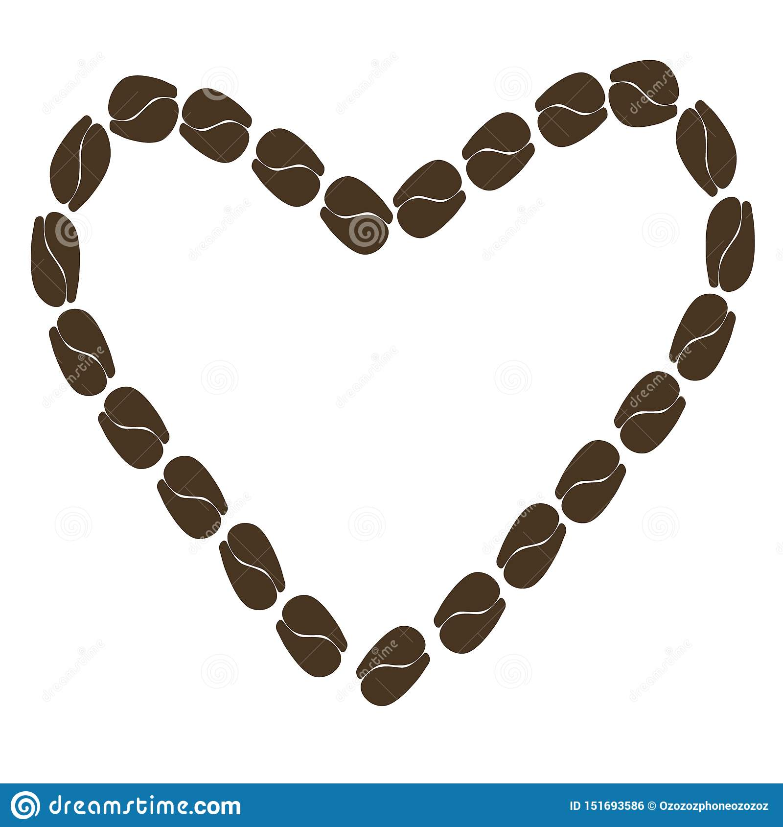 Illustratie abstract hart van koffiebonen