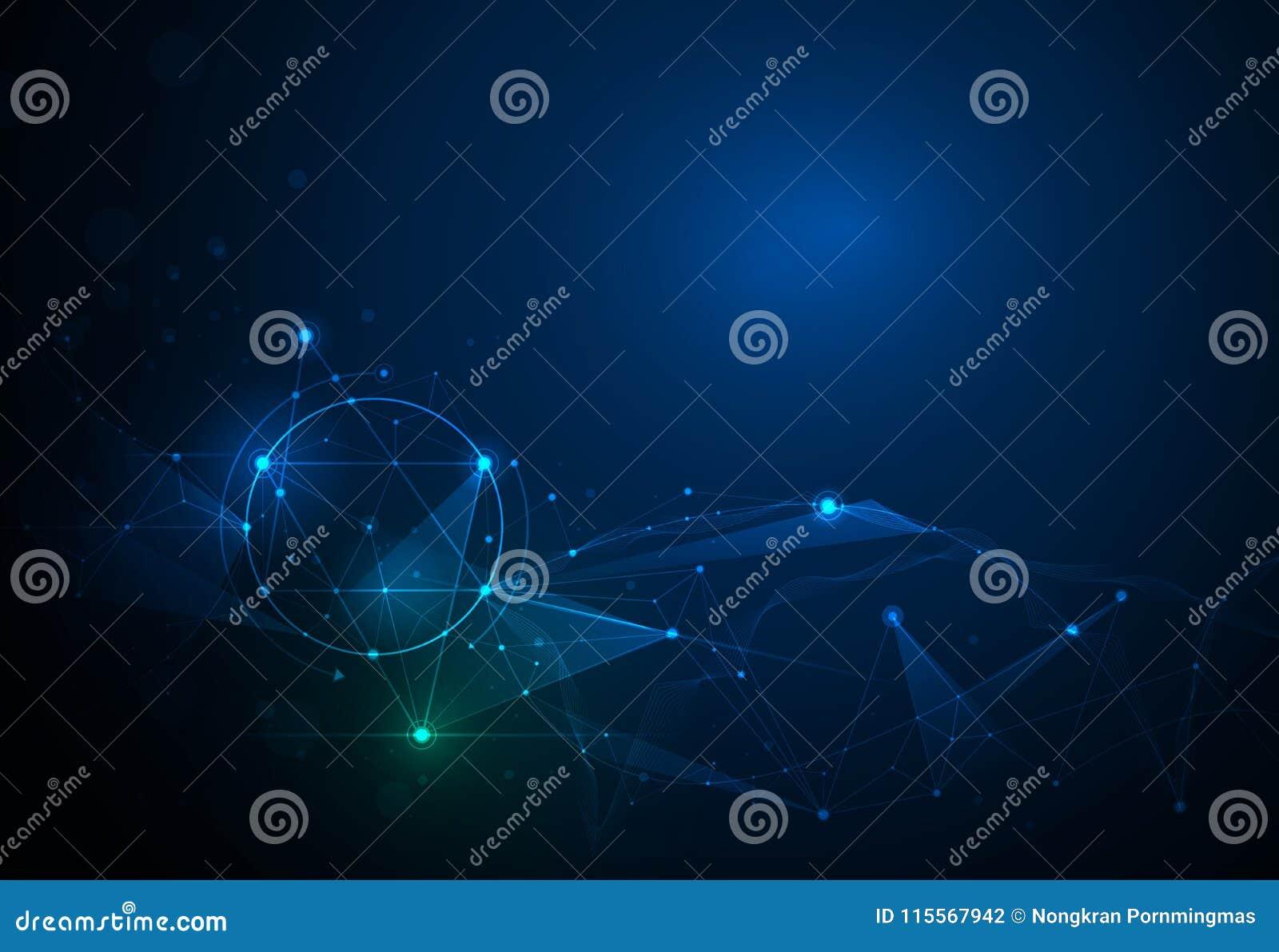 Illustratie Abstracte Molecules en 3D Netwerk met Cirkels, Lijnen, Geometrisch, Veelhoekig, Driehoekspatroon