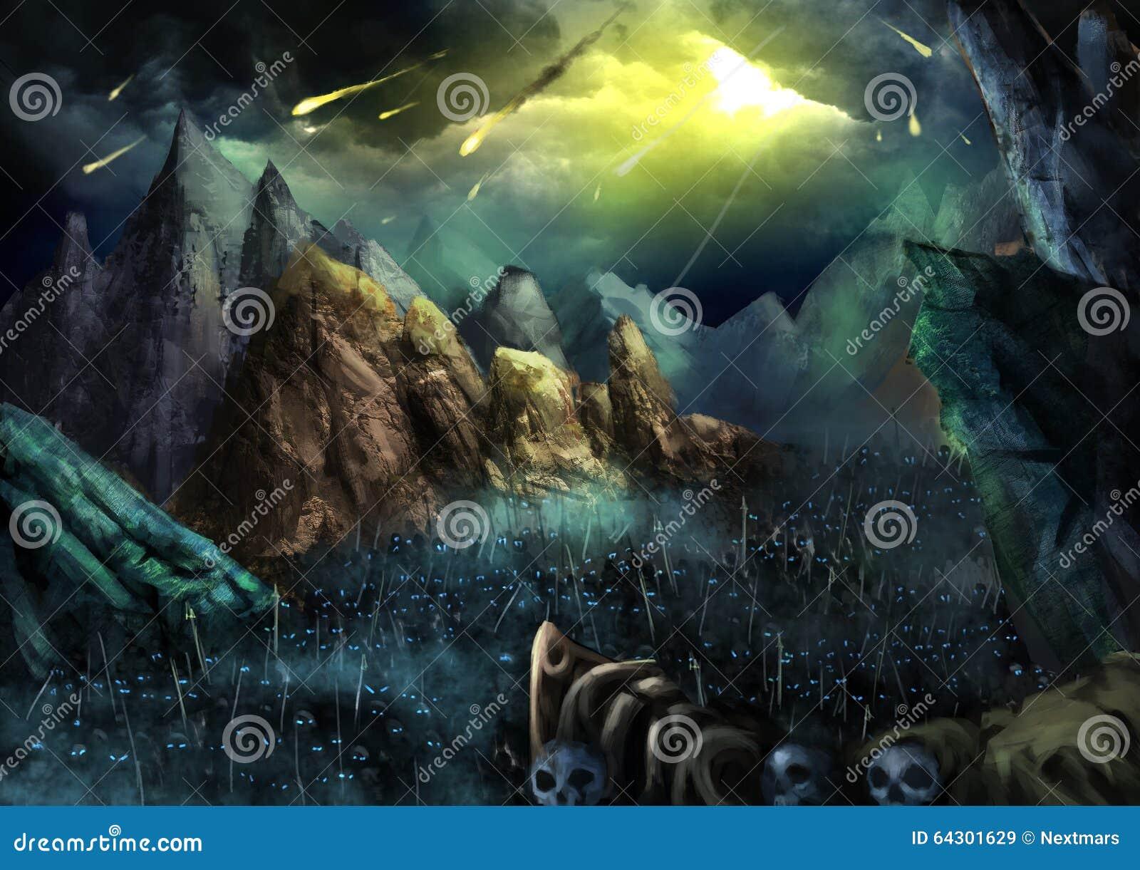 Illustratie: De oorlog gaat beginnen! De daling van de brandbal van Hemel De Donkere Skeletlegers die in de Vallei marcheren