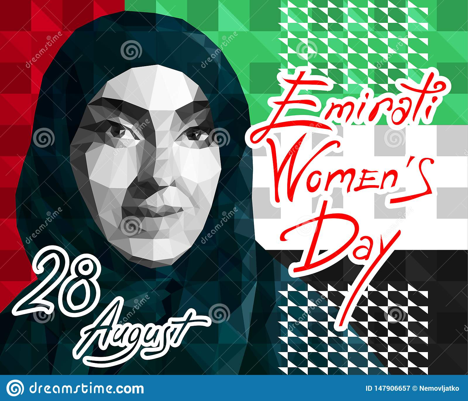 Illustratie in de stijl van een lage veelhoek gewijd aan de Emirati-Vrouwens Dag