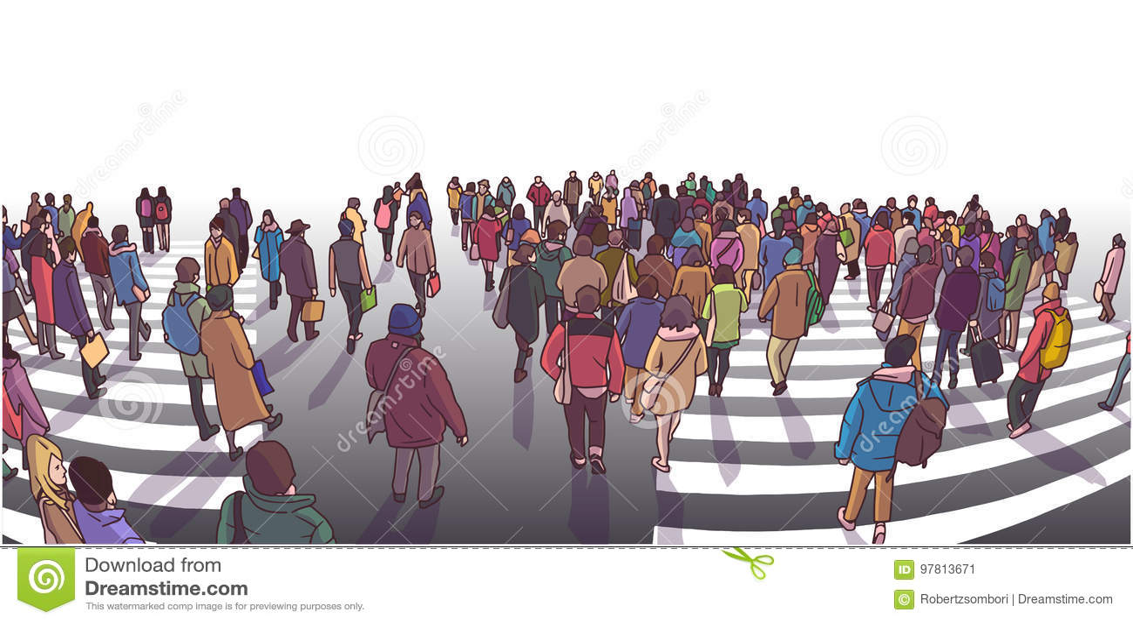 Illustratie die van bezige straat in perspectief kruisen