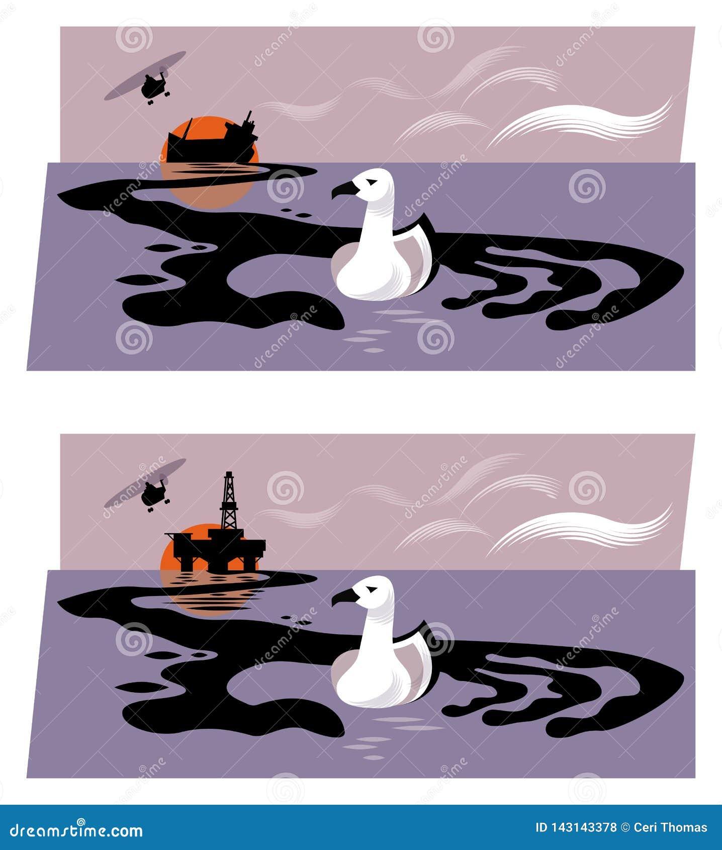 Illustratie die van booreiland of dalende olietanker die olie vrijgeven van het overzees, een handvorm vormen die een zeevogel gr
