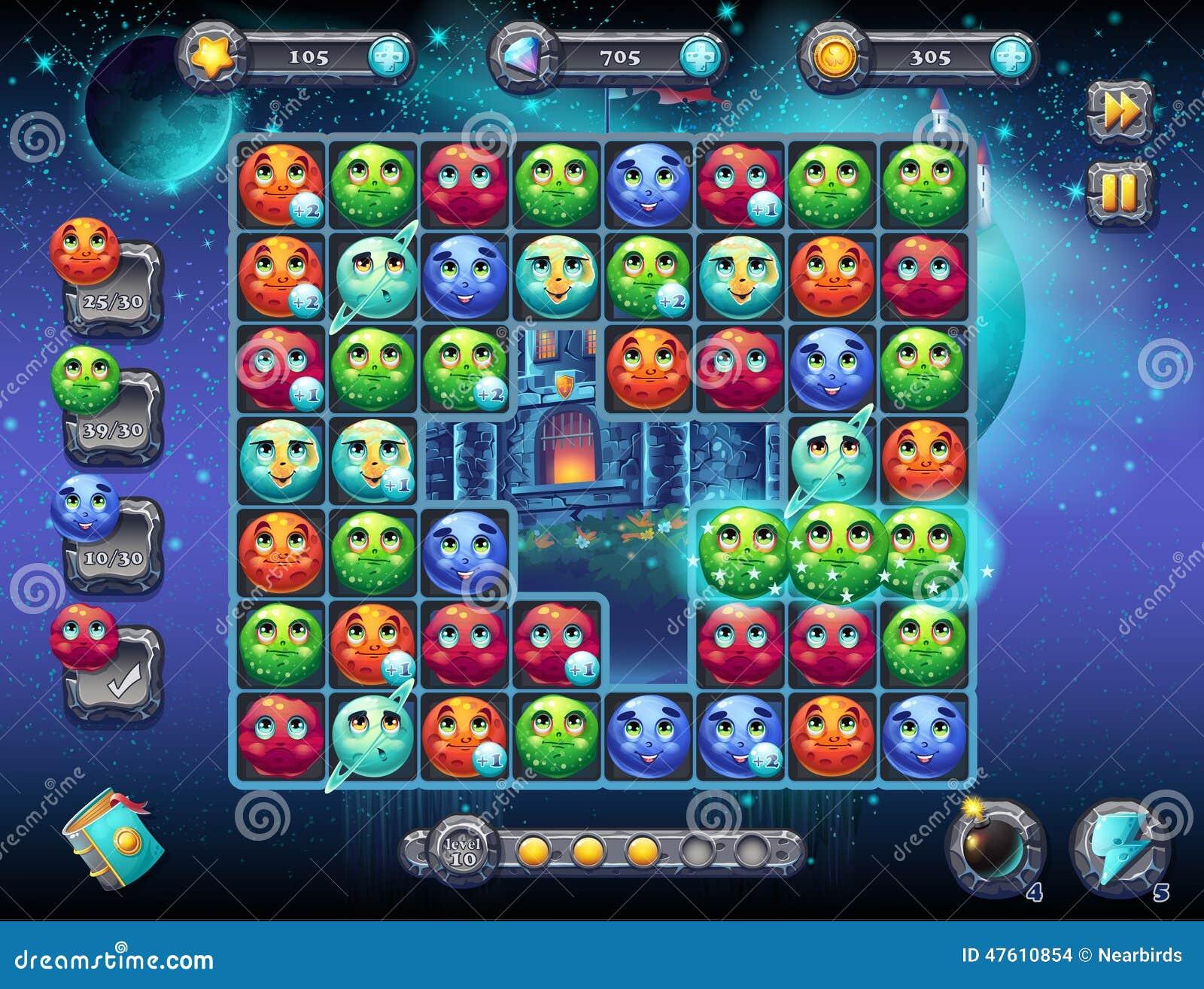 Illustratie fabelachtige ruimte met het beeld van het spelscherm met de interface van het spel speelgebied met pretplaneten als w