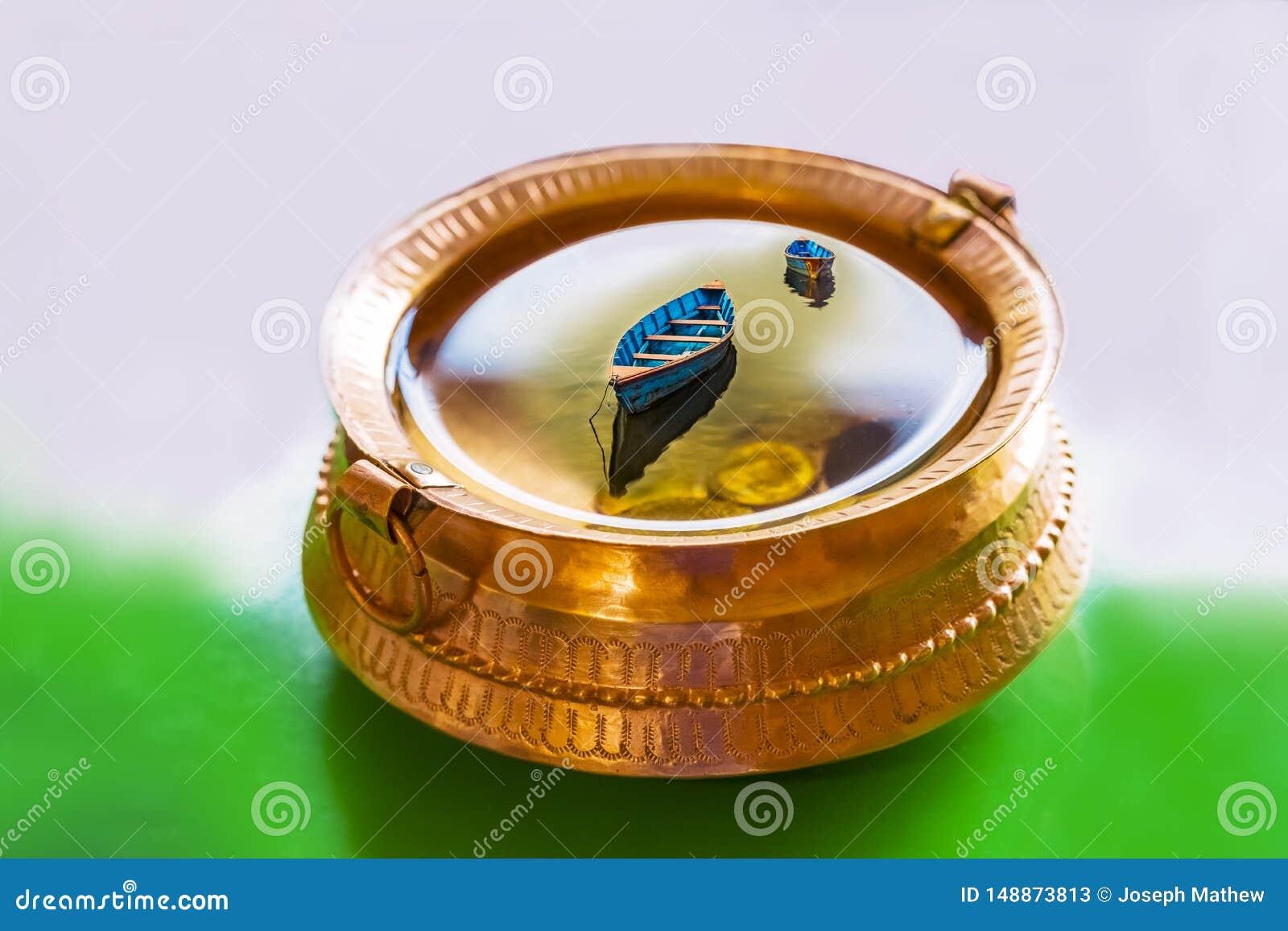 Illustratie, Messingspot met hoogtepunt van water en muntstukken, kleurrijke Boten binnen het water