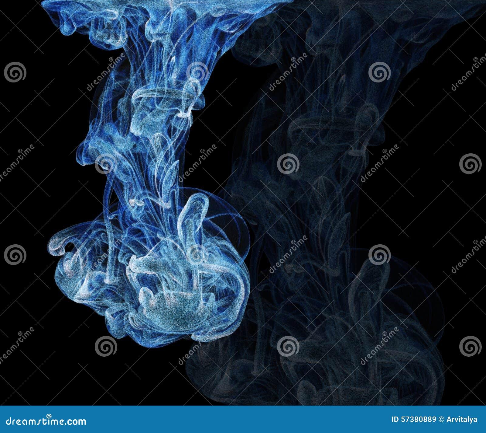 Illustratie met abstracte die wolk van inkt met de hand met kleur wordt getrokken