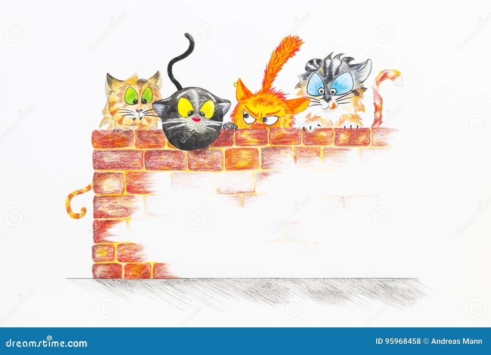 Illustratie met groep leuke katten