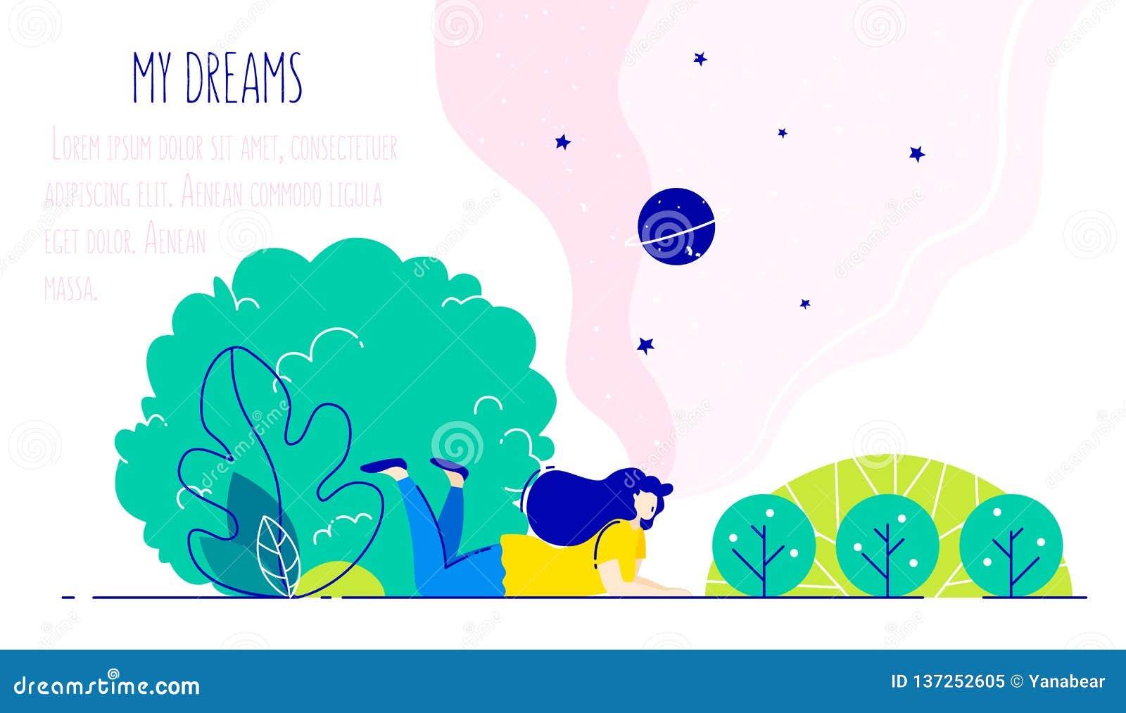 Illustratie met het dromen van meisje in het park Romantische kaart in in vlakke lineaire stijl Vector