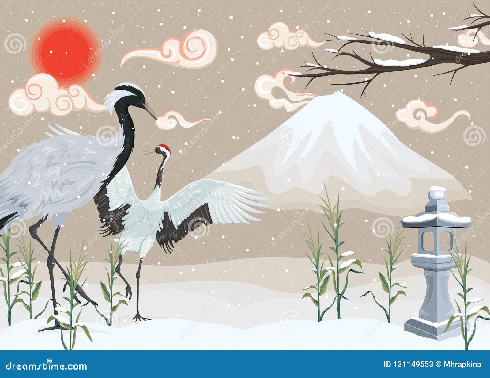 Illustratie met kranen op sneeuwachtergrond