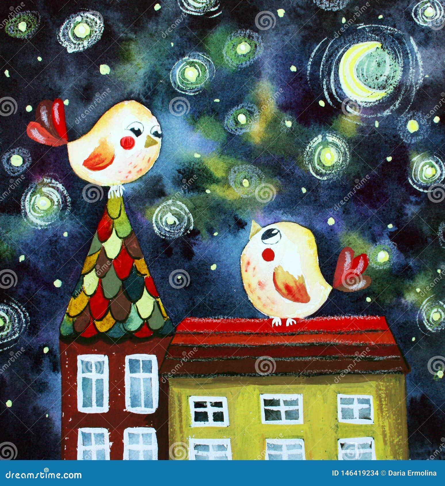 Illustratie met vogels op het dak