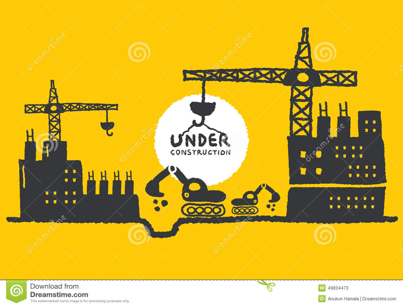 Illustratie van in aanbouw plaats met de bouw