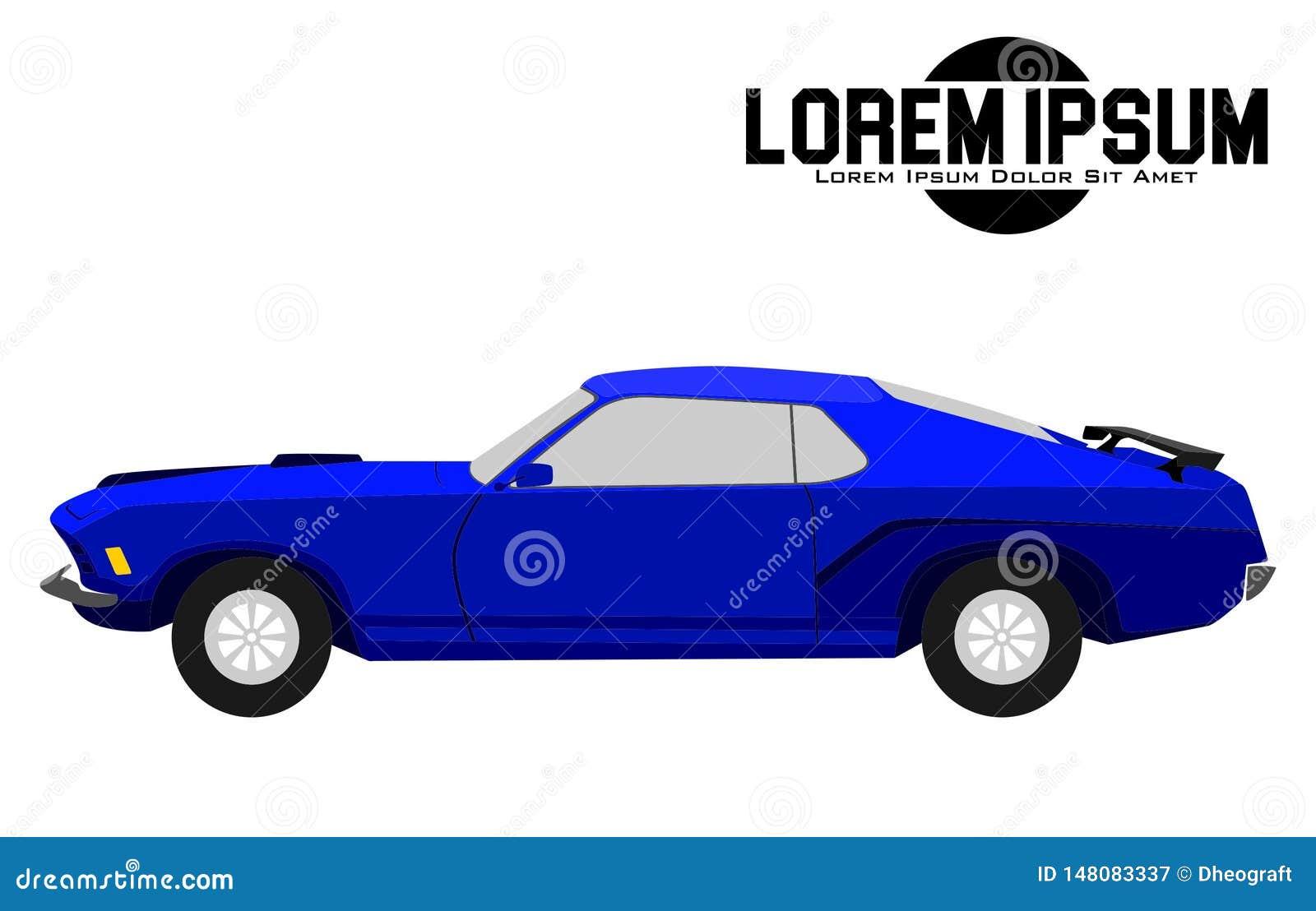 Illustratie van Amerikaanse Blauwe Spierauto