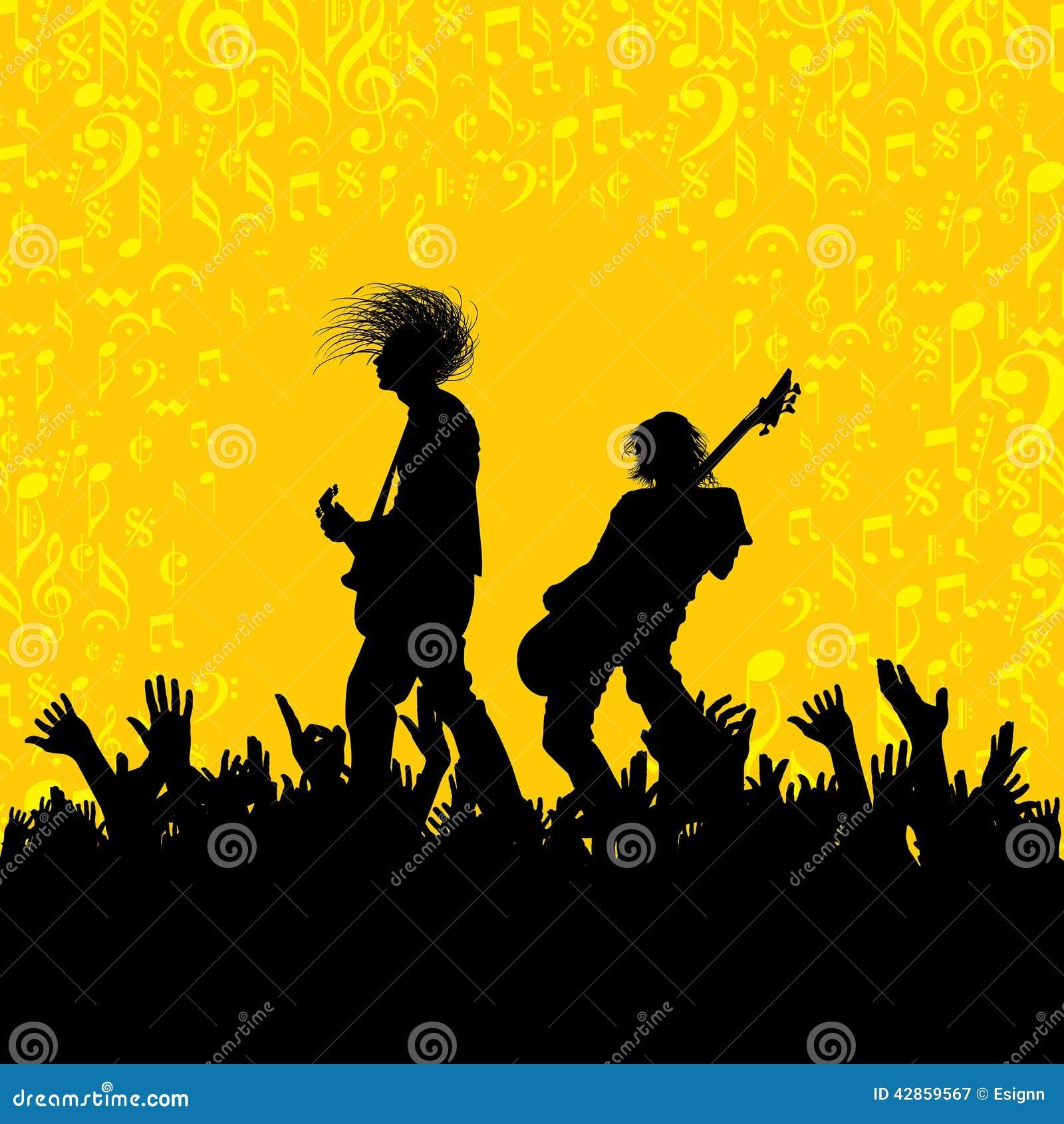 Illustratie van band van musicus het presteren