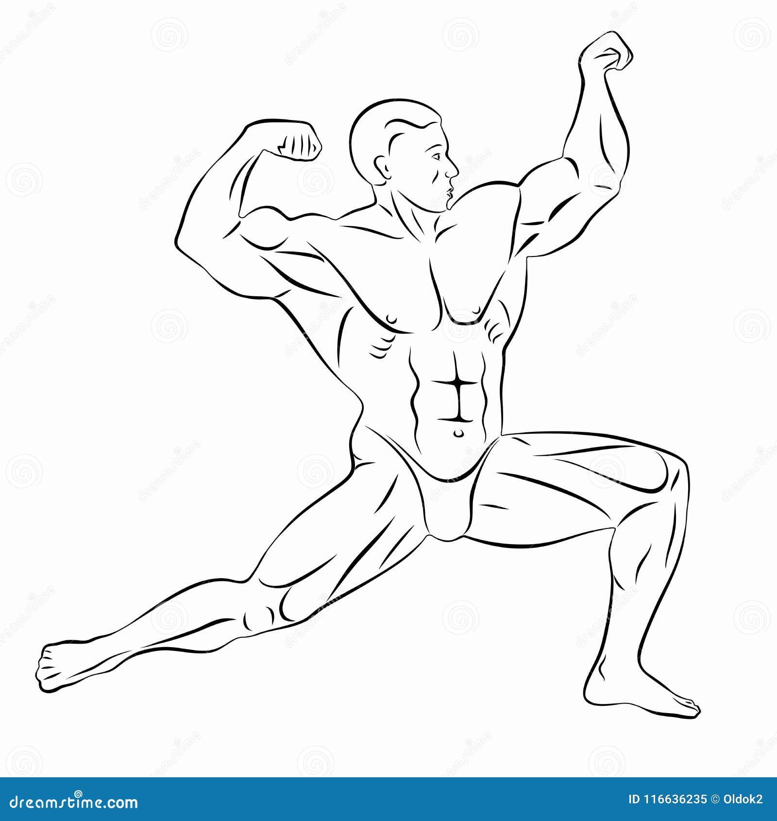 Illustratie van bodybuilder, vectortekening