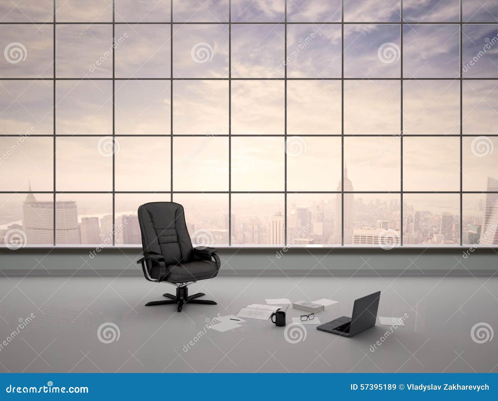 Illustratie van bureaustoel in een leeg bureau