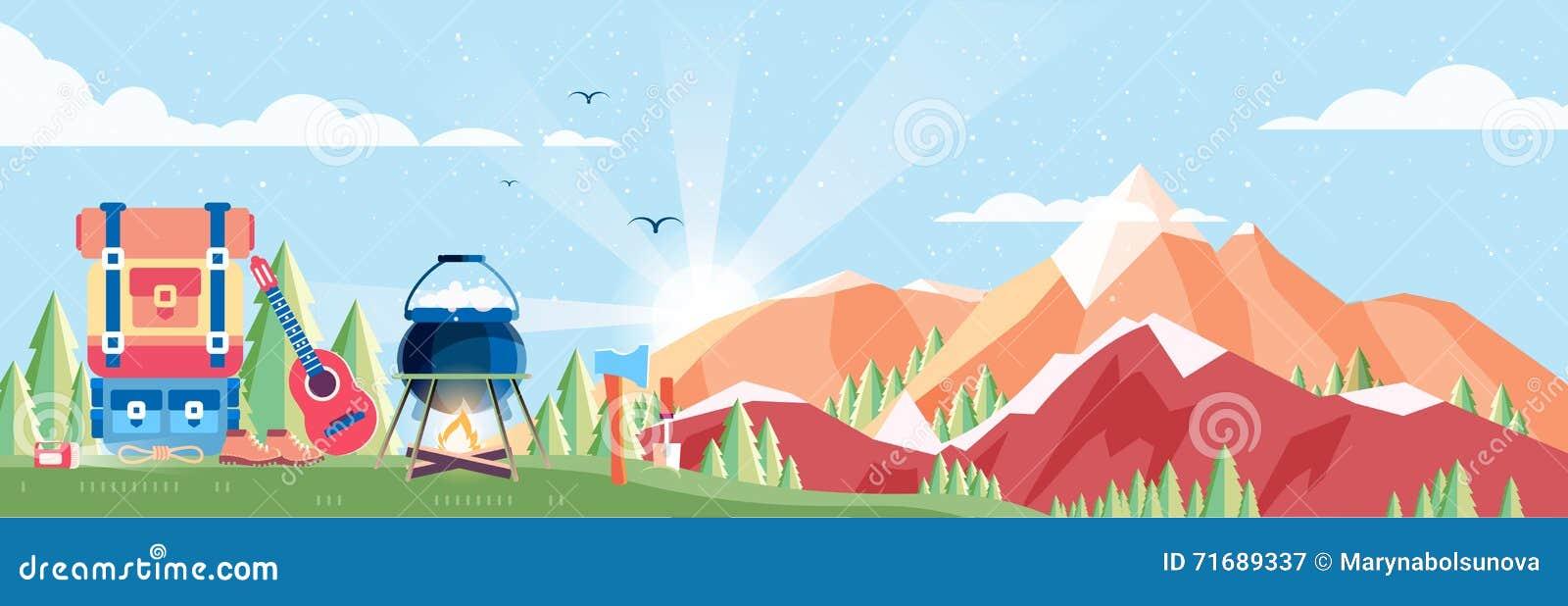 Illustratie van daglandschap, bergen die, dageraad, reis, aard, pot, brand, wandeling, grote toeristenrugzak, in vlakte kamperen