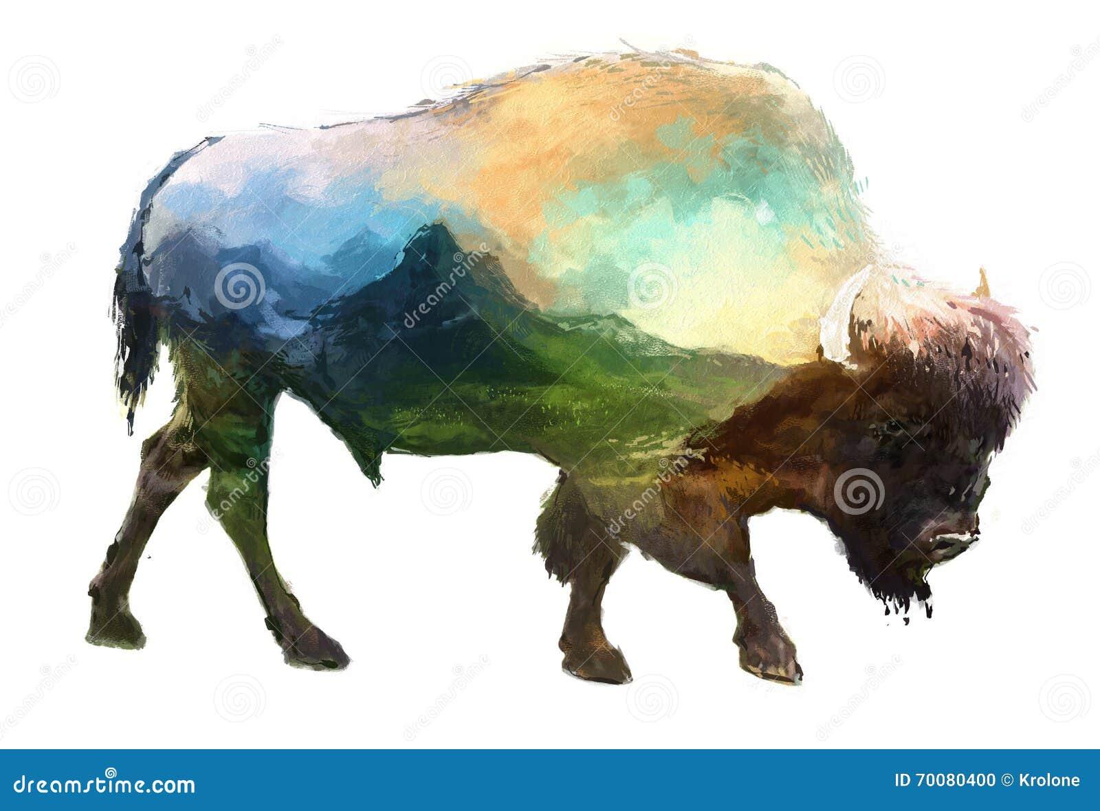 Illustratie van de bizon de dubbele blootstelling