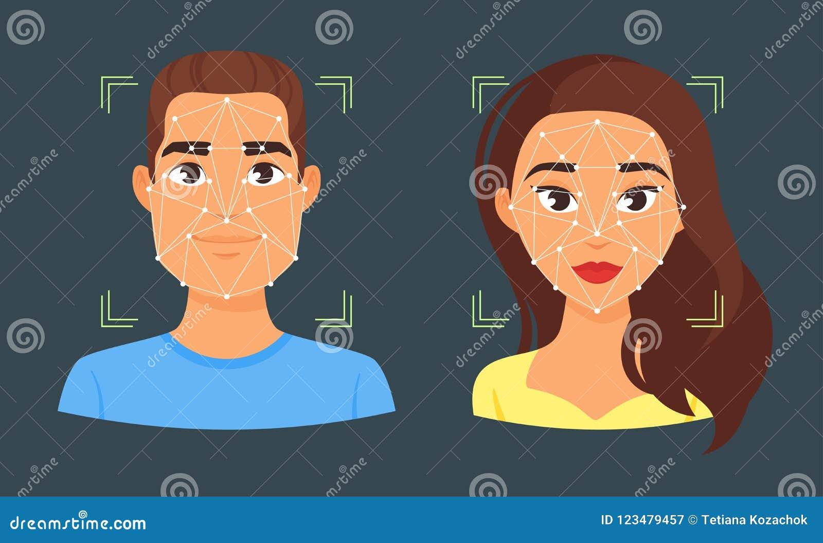 Illustratie van de gezichts de biometrische identificatie