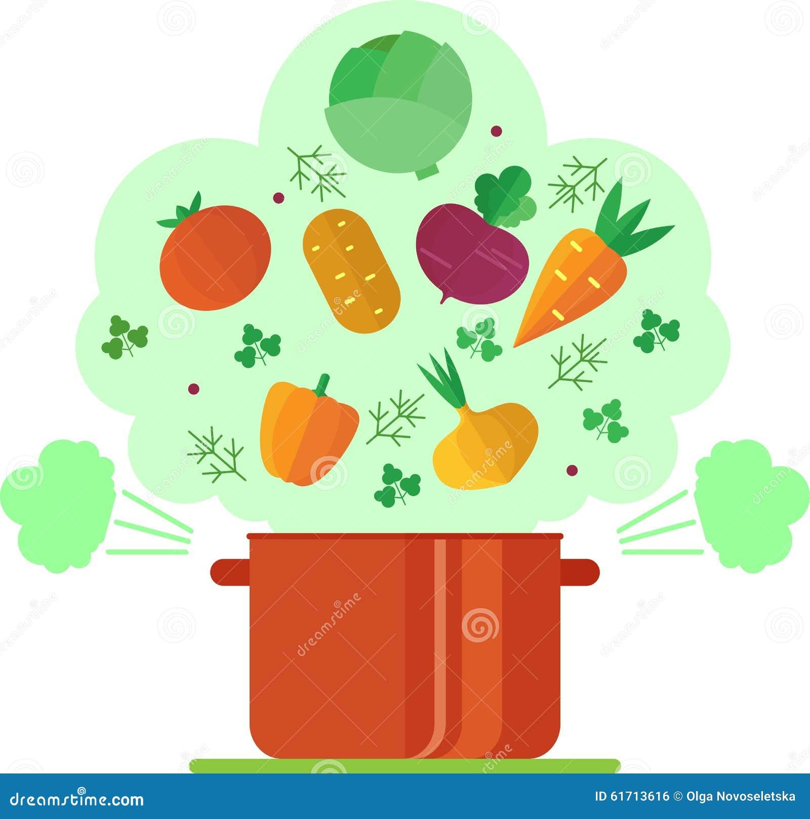 Illustratie van de recepten de vegetarische groentesoep vector illustratie afbeelding 61713616 - Koken afbeelding ...