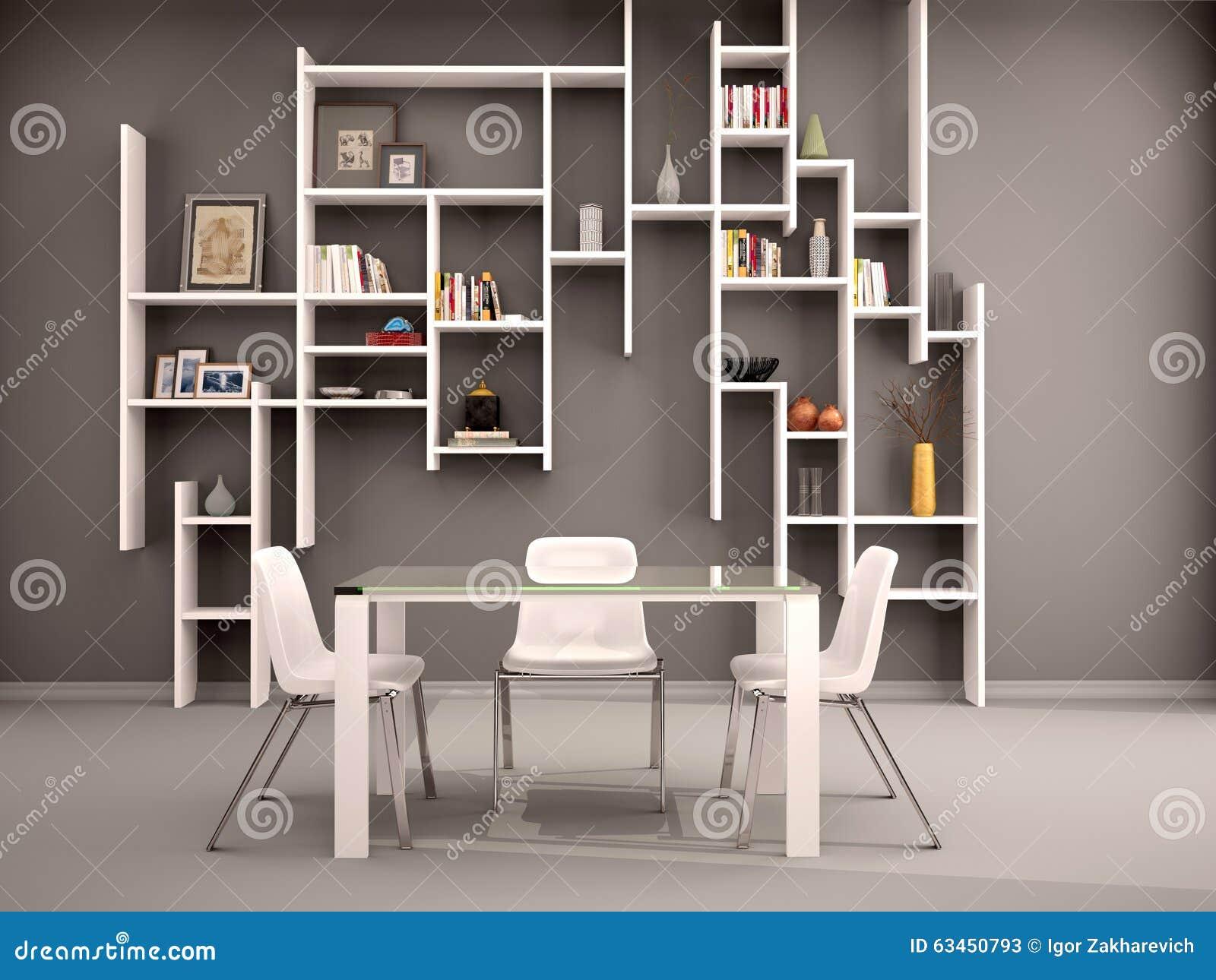 Illustratie van donkere die ruimte met witte planken wordt gevuld
