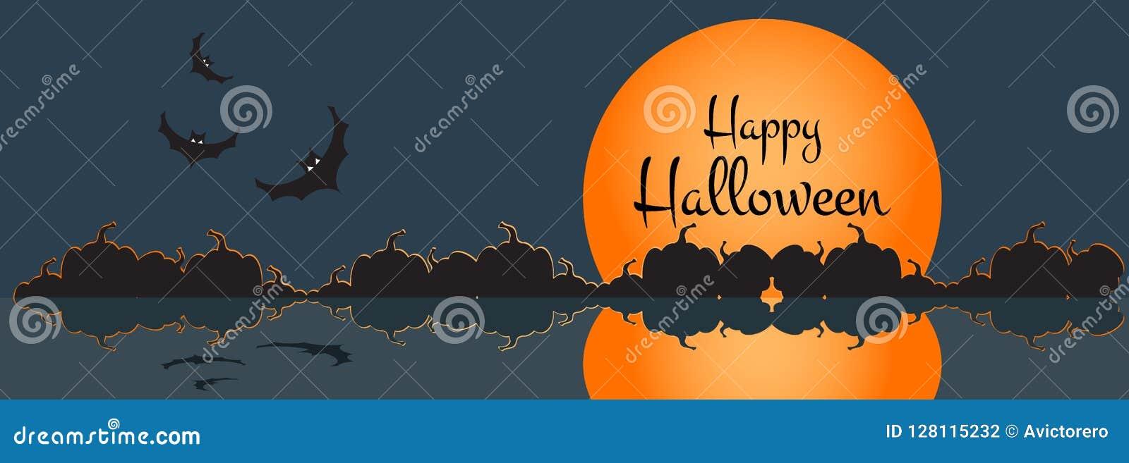 Illustratie van een gelukkige Halloween-banner met Halloween-stadsscène Vector illustratie