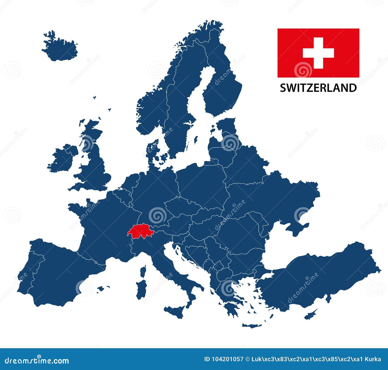 Illustratie Van Een Kaart Van Europa Met Benadrukt Zwitserland