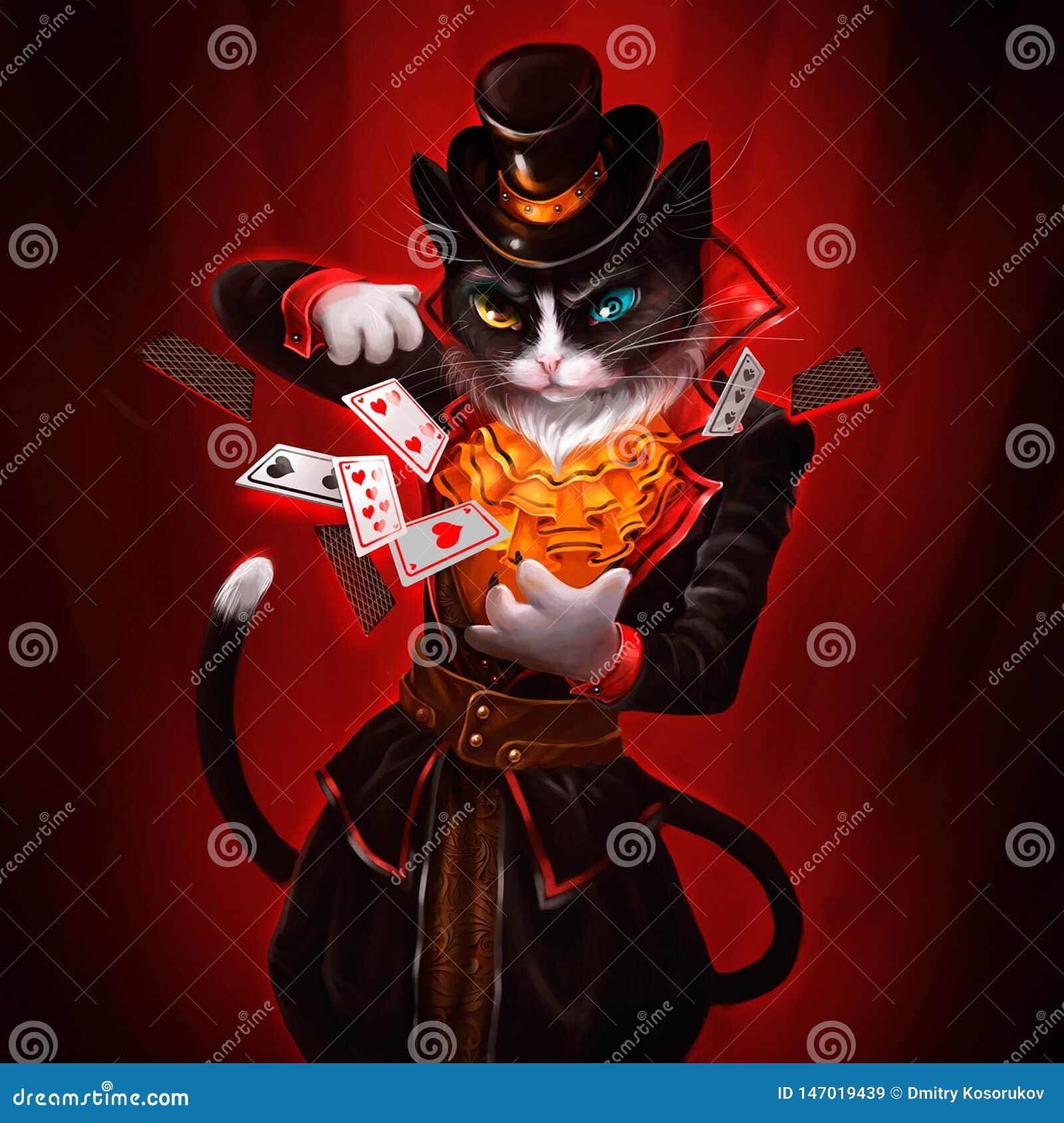Illustratie van een kat met speelkaarten