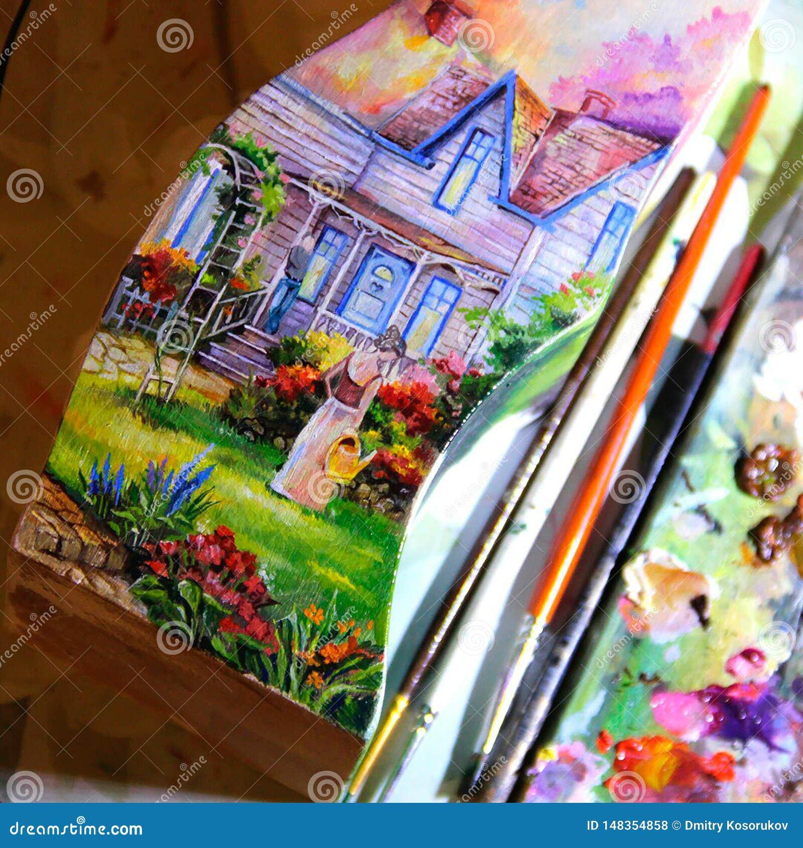 Illustratie van een kunstenaar die een beeld schilderen