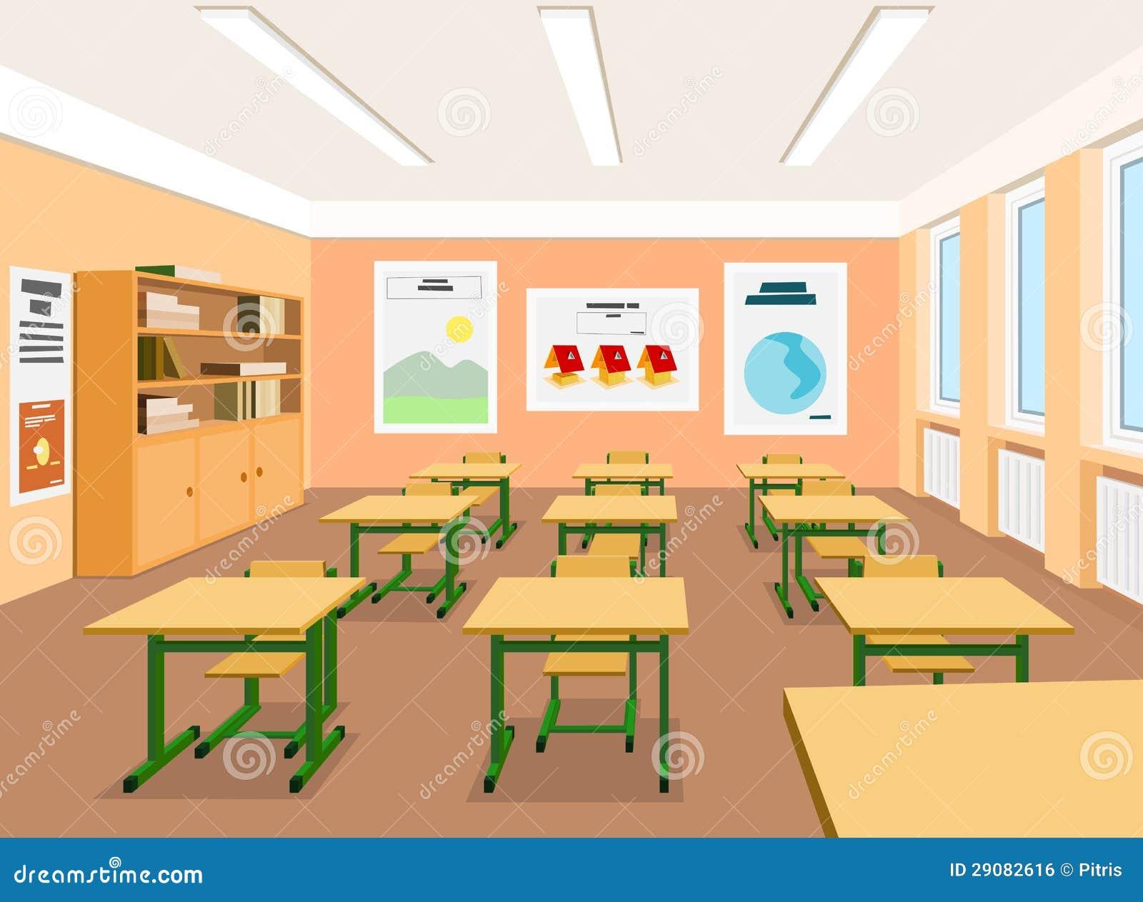 Modern Classroom Vector : Illustratie van een leeg klaslokaal vector
