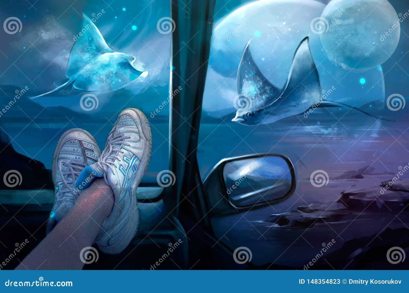 Illustratie van een magische mening van de auto