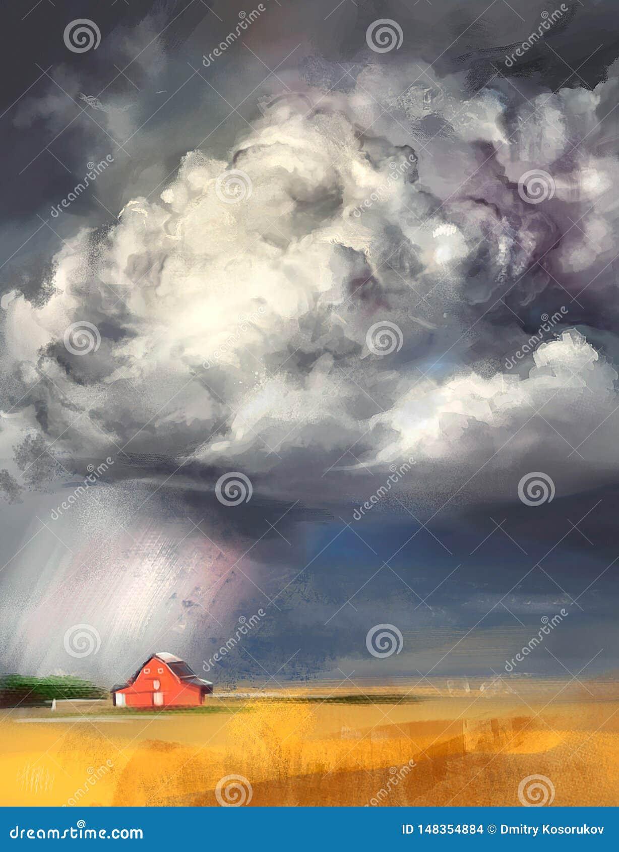 Illustratie van een onweersbui in een dorp