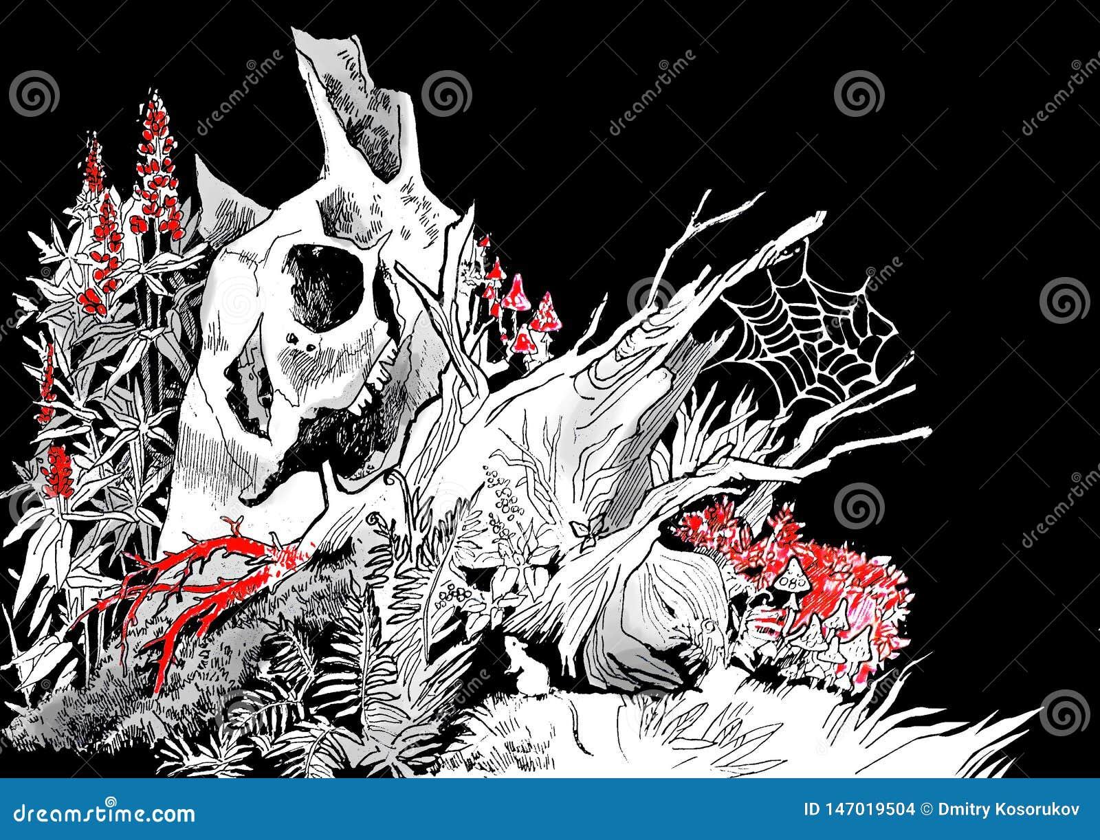 Illustratie van een oude rotte boomstomp