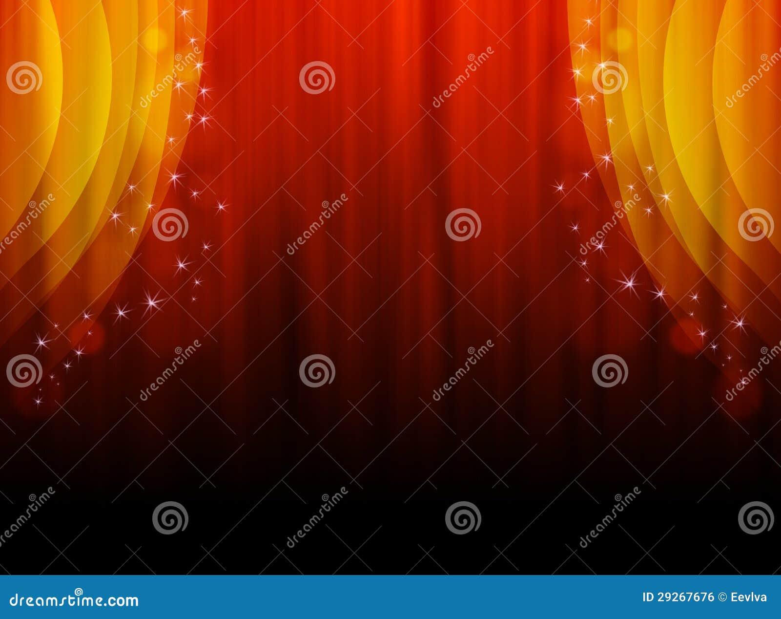 Illustratie van een rood oranje gordijn. royalty vrije stock ...