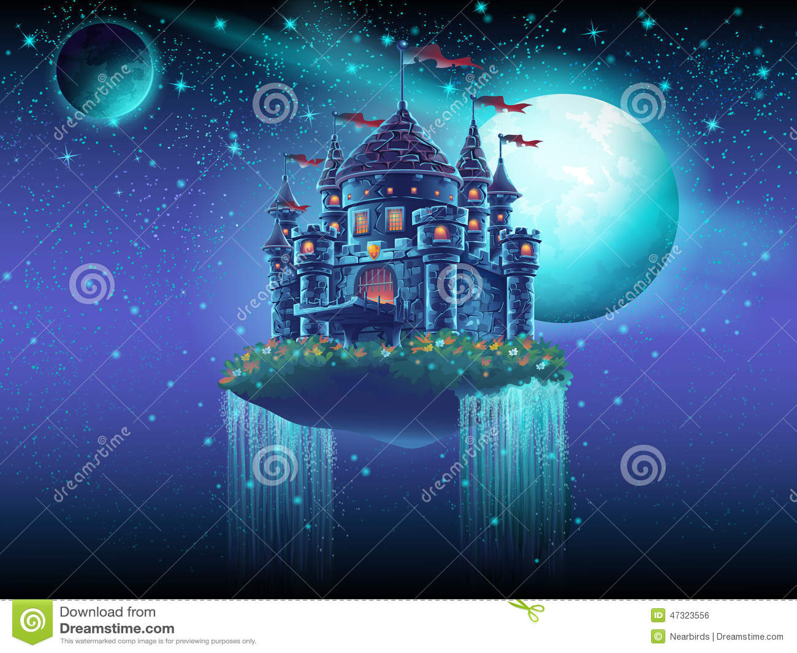 Illustratie van een vliegend kasteel in ruimte tegen een achtergrond van sterren en planeten