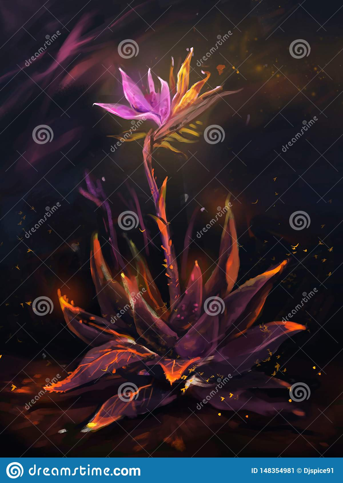 Illustratie van fee gloeiende bloem