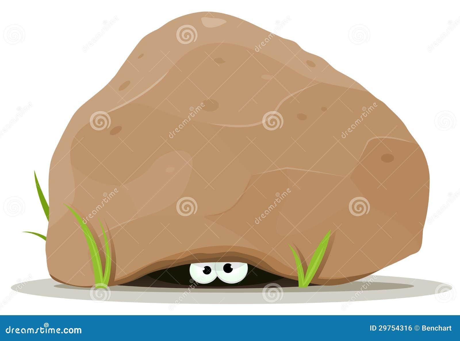 De dierlijke ogen van het beeldverhaal onder grote steen vector illustratie afbeelding 29754316 - Ogen grappig ...