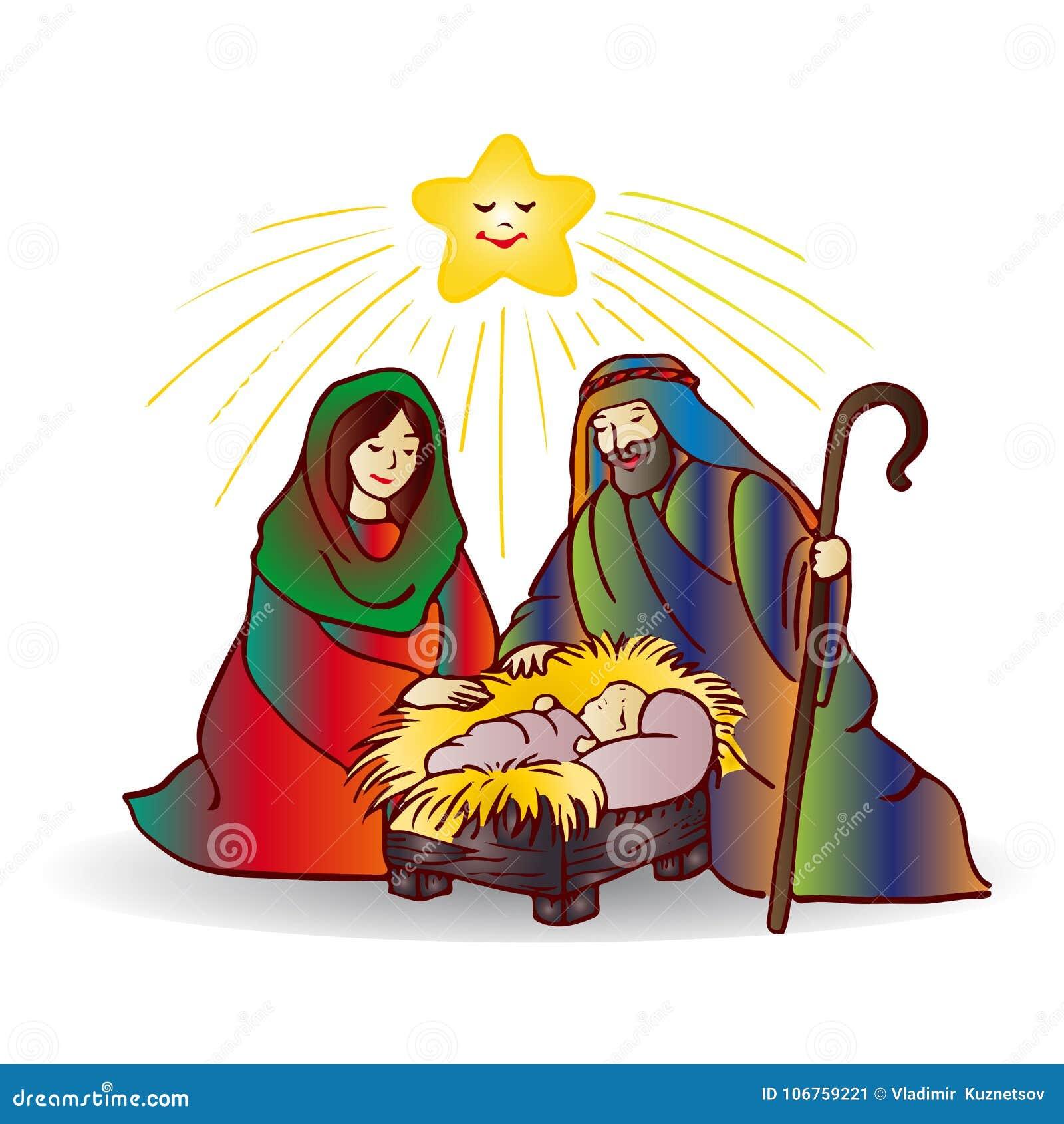 Illustratie van Kerstmis Jesus Christ, beeldverhaal op witte backg