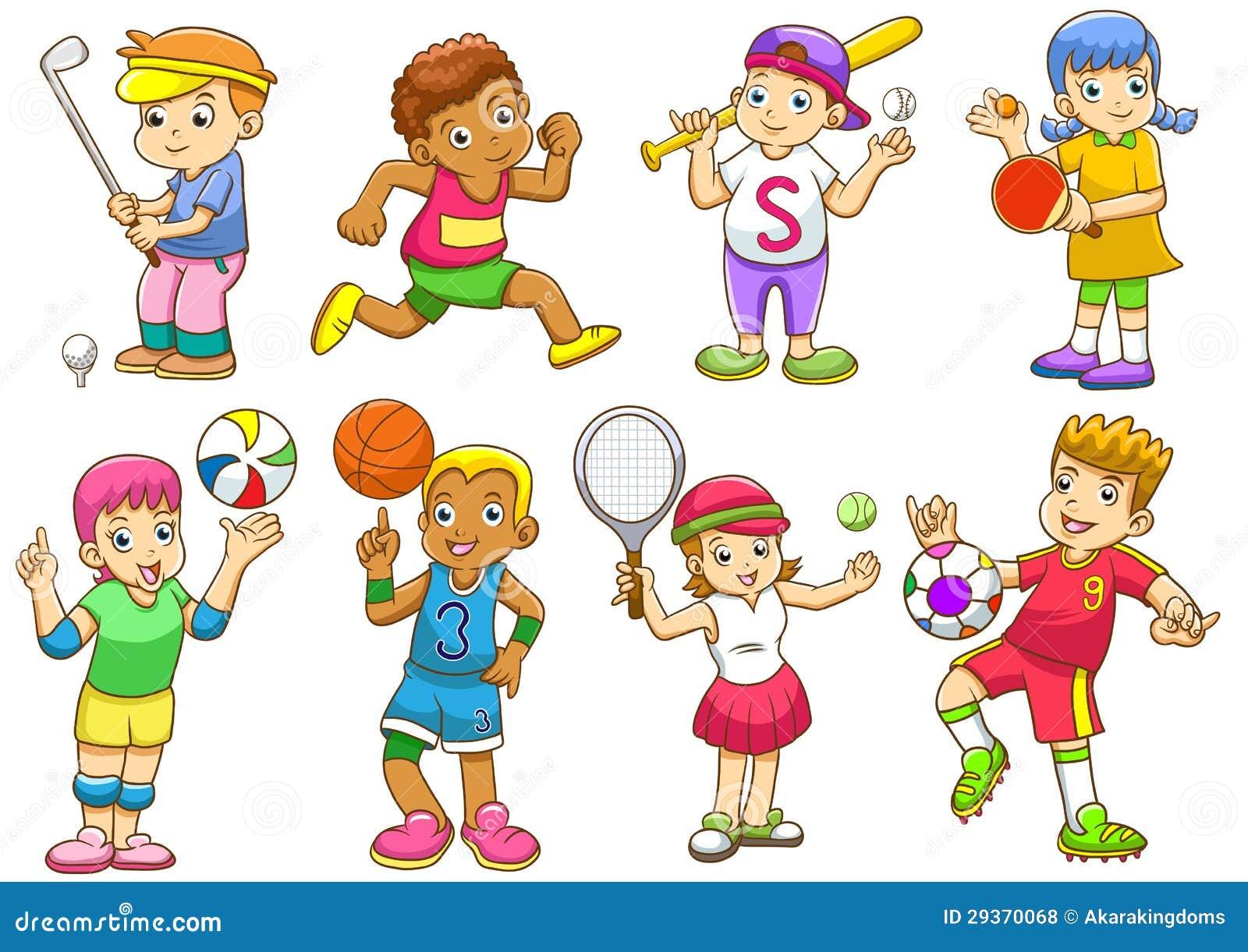 illustratie van kinderen die verschillende sporten spelen vector illustratie illustratie. Black Bedroom Furniture Sets. Home Design Ideas