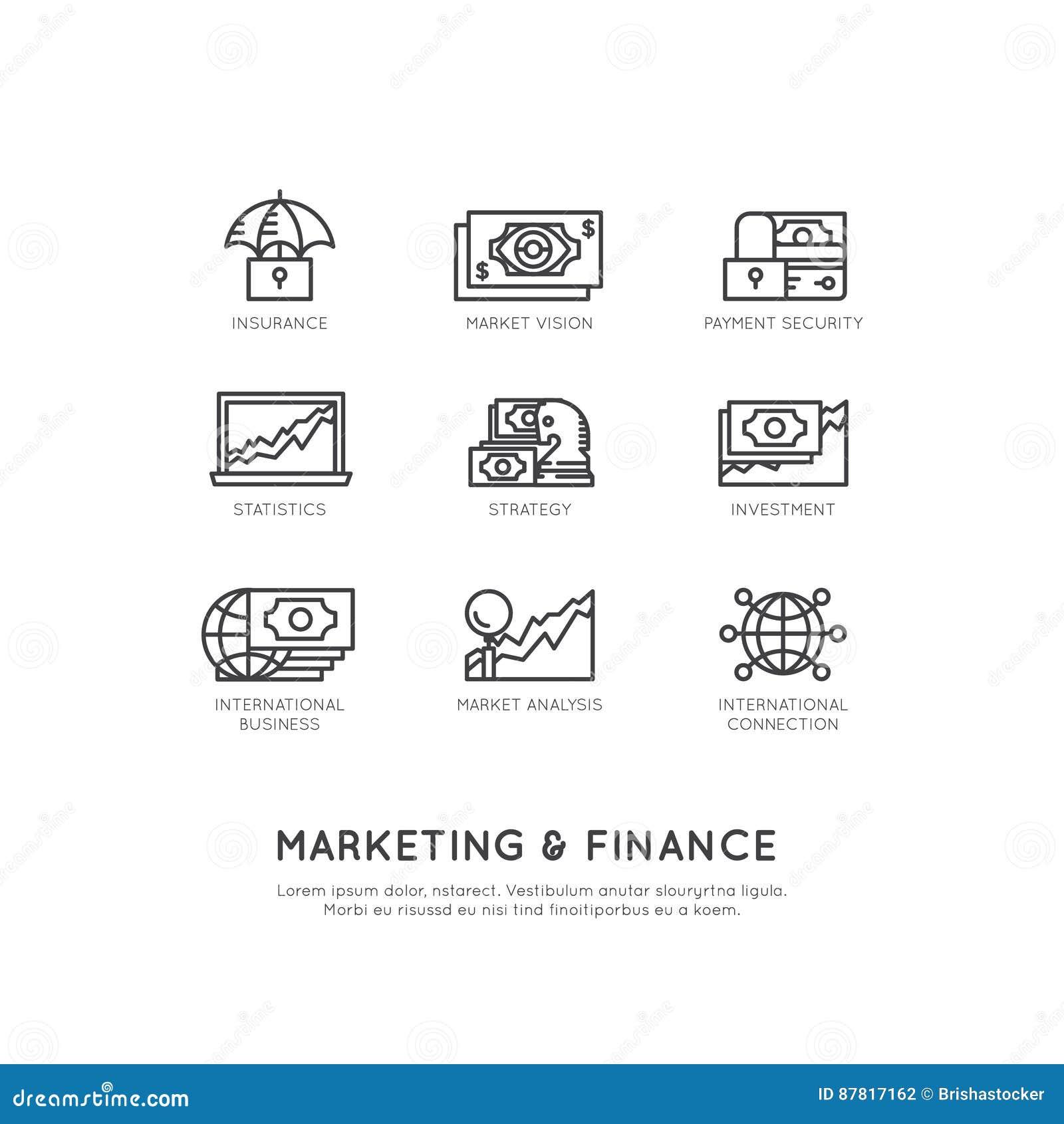 Illustratie van Marketing en Financiën, Bedrijfsvisie, Investering, Beheersproces, Financiënbaan, Inkomen, Opbrengstbron