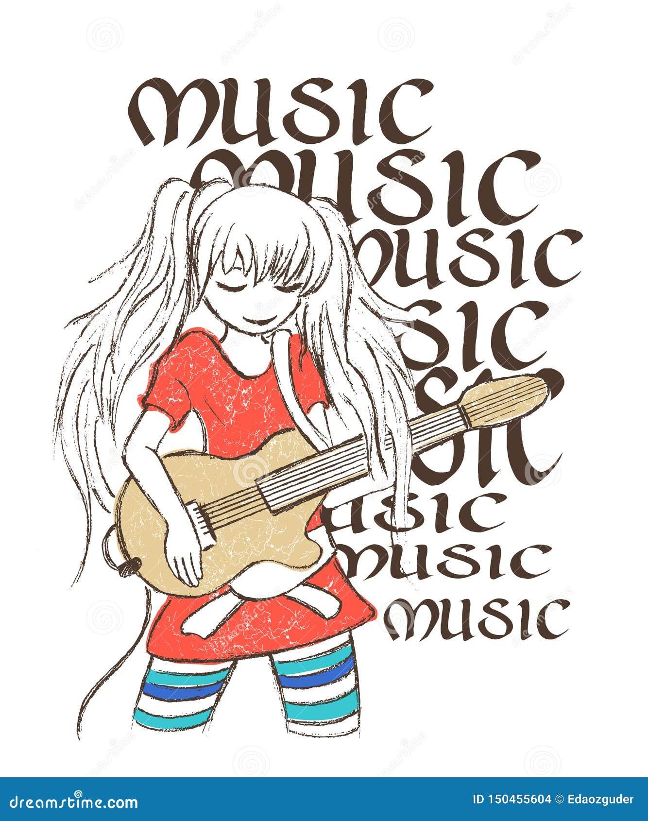 Illustratie van meisje het spelen gitaar, de druk van het T-stukoverhemd