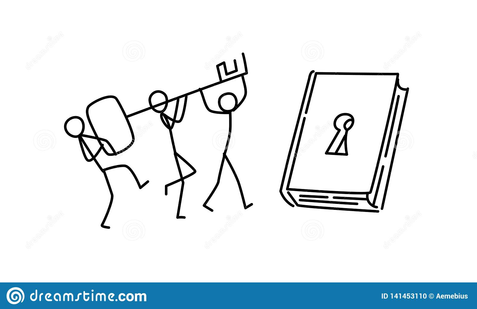 Illustratie van mensen die nieuwe kennis ontdekken Vector Open een boek Gezamenlijke personeel opleiding metafoor lineaire stijl