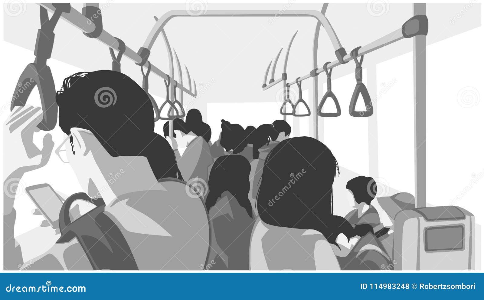 Illustratie van mensen die openbaar vervoer, bus, trein, metro, metro gebruiken