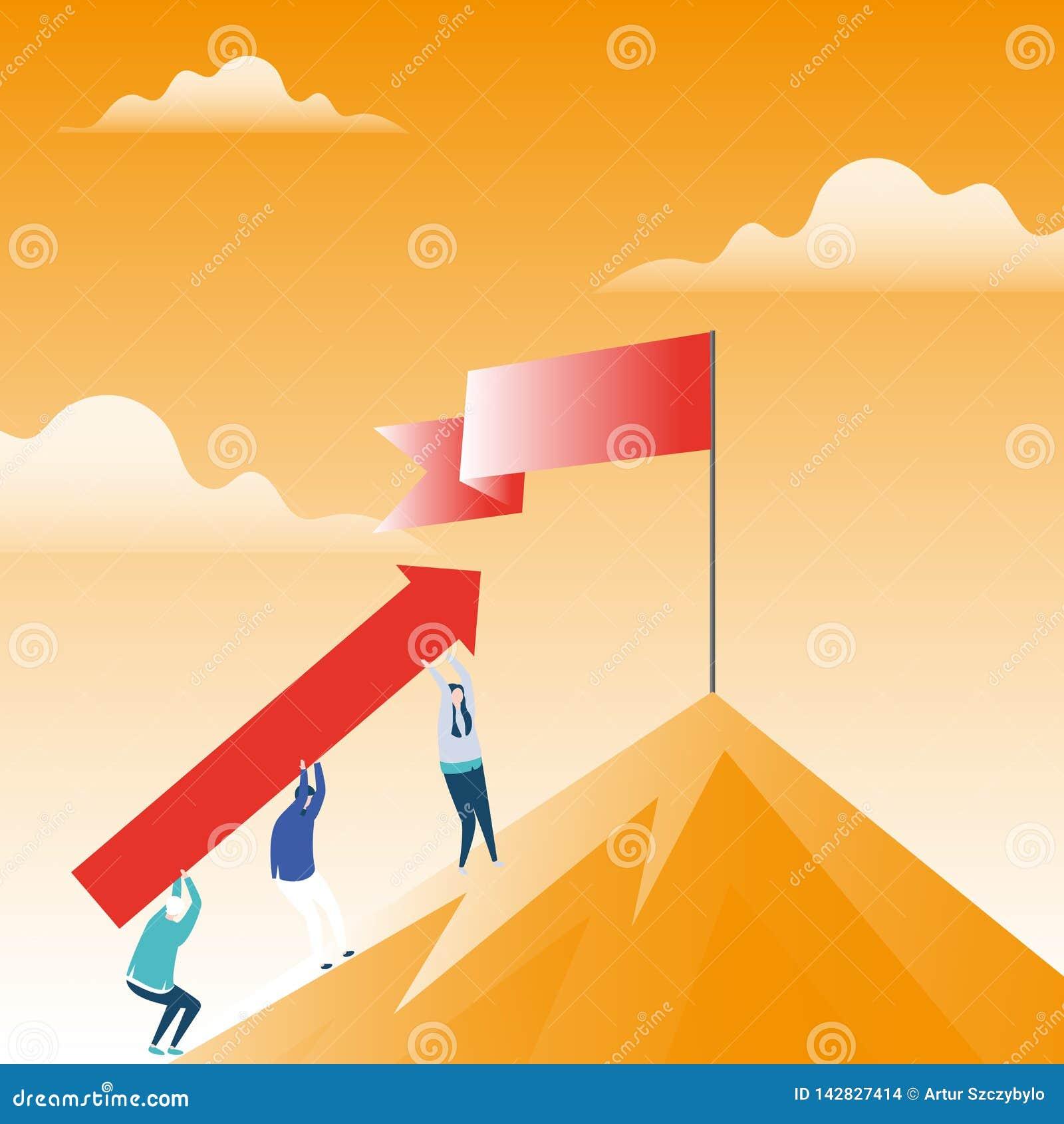 Illustratie van Mensen die Pijl dragen die de Berg met Spatie Gevouwen Banner bij Pool-de Status op de Piek uitgaan