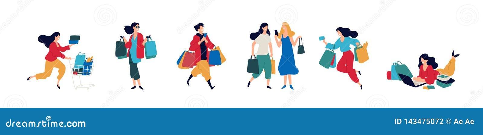 Illustratie van mensen met aankopen Vector Mannen en vrouwen die goederen kochten Kortingen en verkoop in kleinhandelsnetwerken v